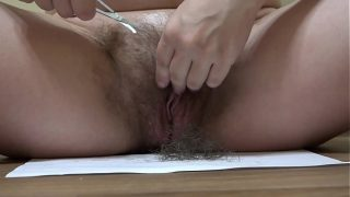 Is my pussy beautiful when hairy or when it is shaved? A pregnant girl with beautiful tits shaves her pussy and asshole.