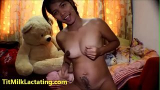 Thai asian teen heather deep 19 weeks pregnant shows off boobs and small milky tits